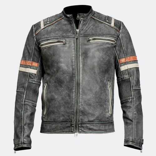 Men's Retro 2 Cafe Racer Biker Vintage Motorcycle Distressed Leather Jacket Motorcycle Collection Free Shipping