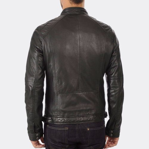 Slim Fit Biker Motorcycle Real Trendy Fashion Black Leather Jacket Mens Fashion Collection Free Shipping