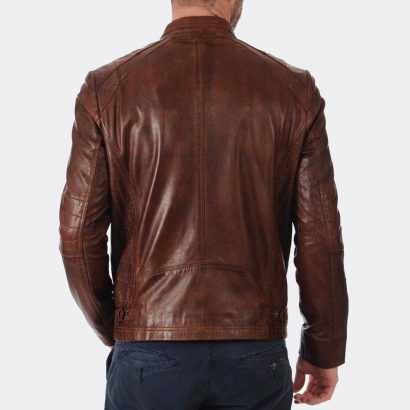 Men's Slim Fit Distressed Brown Biker Real Leather Trendy Fashion Jacket Fashion Collection Free Shipping
