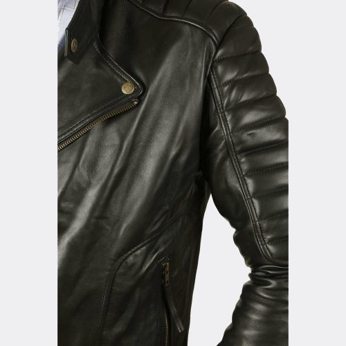 Men's Slim Fit Quilted Black Biker Real Sheepskin Leather Jackets Online Fashion Collection Free Shipping