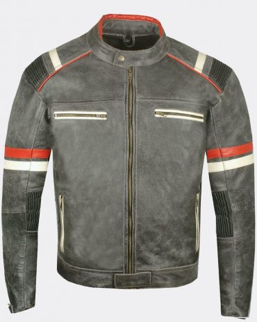 Men's Classic Rumble Color blocked Leather Motorcycle Jacket Motorbike Jackets Free Shipping