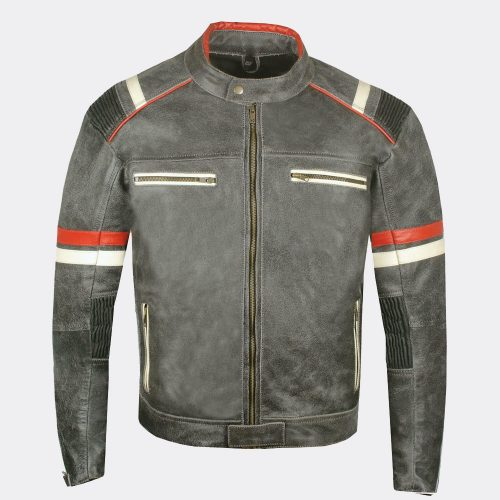 Men's Classic Rumble Color blocked Leather Motorcycle Jacket Motorcycle Collection Free Shipping