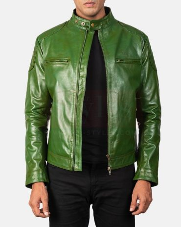 Men Green Leather Biker Leather Jacket Fashion Collection Free Shipping