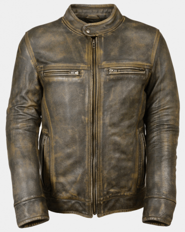 Distressed Scooted Men's Motorcycle Leather Jackets Motorbike Jackets Free Shipping