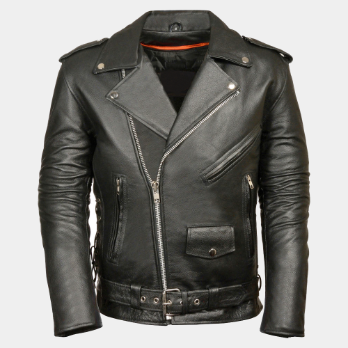 Police Style Mens Motorcycle Leather Jackets Motorcycle Collection Free Shipping