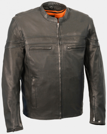 Sporty Scooter Black Mens Motorcycle Leather Jackets Motorbike Jackets Free Shipping