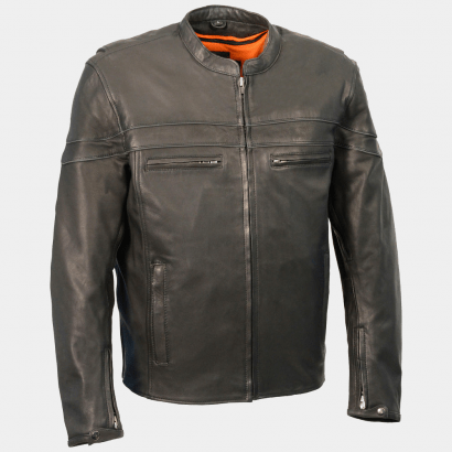 Sporty Scooter Black Mens Motorcycle Leather Jackets Motorcycle Collection Free Shipping