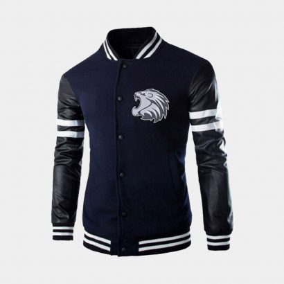 Navy Leather Long Sleeve varsity Jacket Fashion Collection Free Shipping