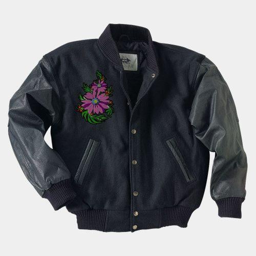 Navy Leather Varsity Jacket Fashion Collection Free Shipping