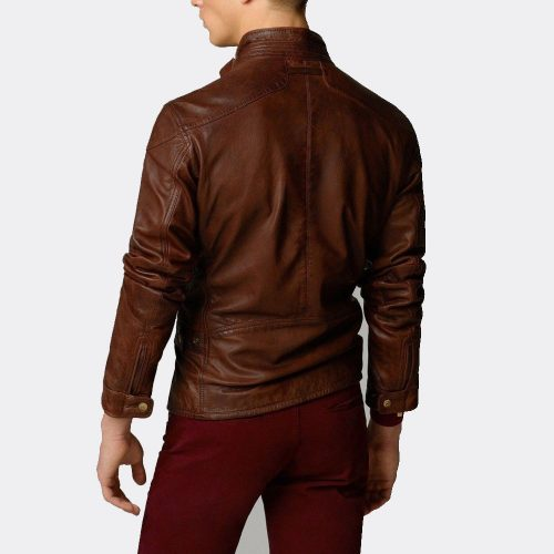 New Brown Tan Leather Fashion Jacket Lambskin Leather Jackets Guys Fashion Collection Free Shipping