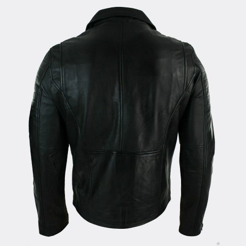 Men's Fashion Style Black Leather Slim Fit Biker Real Leather Jacket Fashion Collection Free Shipping