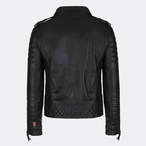 Black Leather Slim Fit Biker Genuine Leather Jacket Mens Fashion Collection Free Shipping