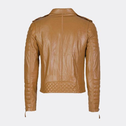 New Fashion Style Tan Slim Fit Biker Leather Jackets Online Fashion Collection Free Shipping