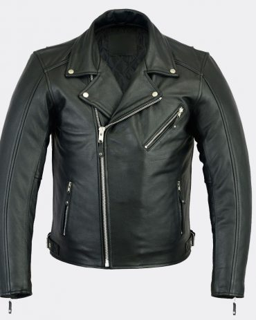 New Mens Black Genuine Cowhide Motorcycle Biker Leather Jacket Motorcycle Collection Free Shipping