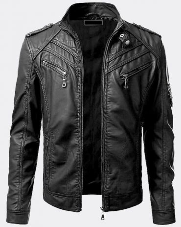 New Men Genuine Lambskin Leather Jacket Black Slim Fit Biker Motorcycle Jacket Motorcycle Collection Free Shipping