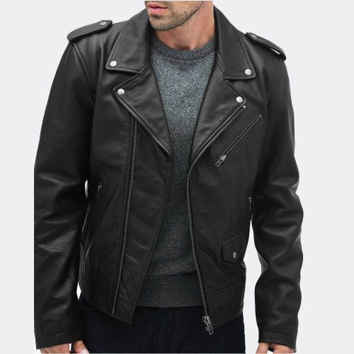 New Men's Genuine Lambskin Leather Motorcycle Slim Fit Biker Jacket Customize Sp Motorcycle Collection Free Shipping