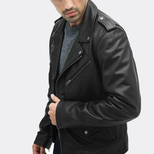 New Men's Genuine Lambskin Leather Motorcycle Slim Fit Biker Jacket Customize Sp Motorbike Jackets Free Shipping