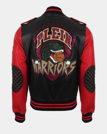 Red Sleeve Plein Warriors Leather Bomber Man In Leather Jacket Fashion Collection Free Shipping
