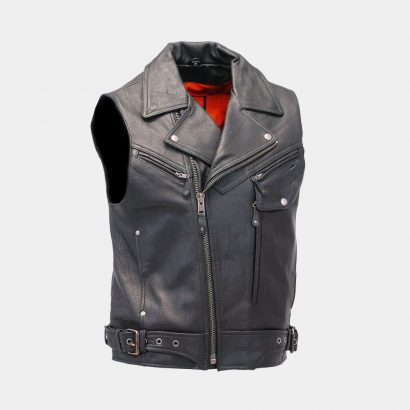 Premium Vented Sleeveless Leather Motorcycle Vest Fashion Collection Free Shipping