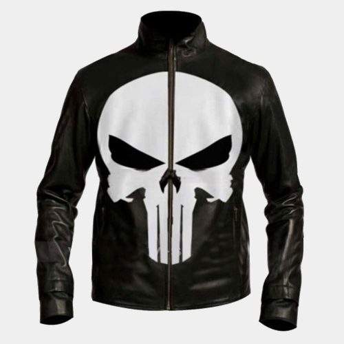 Punisher Skull Black Biker Leather Sleeve Bomber Jacket Fashion Jackets Free Shipping