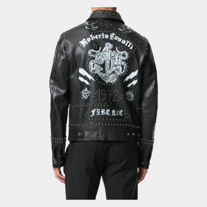 Black Cotton And Leather For Man Printed Studded Jacket Fashion Collection Free Shipping