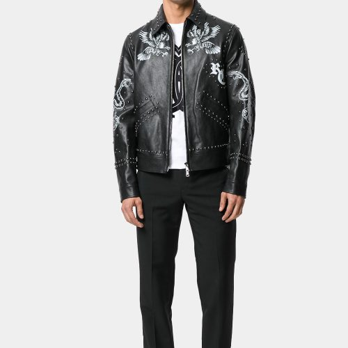 Black Leather Printed Studded Jacket For Man Fashion Collection Free Shipping