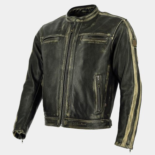 Black Leather Bomber Motorcycle Jacket Motorbike Collection Free Shipping