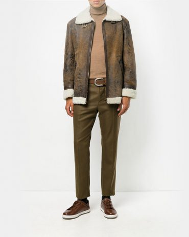 Salvatore Santoro Male Leather Jacket Fashion Collection Free Shipping