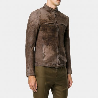 Brown Biker Cotton Leather Jacket Man Fashion Collection Free Shipping
