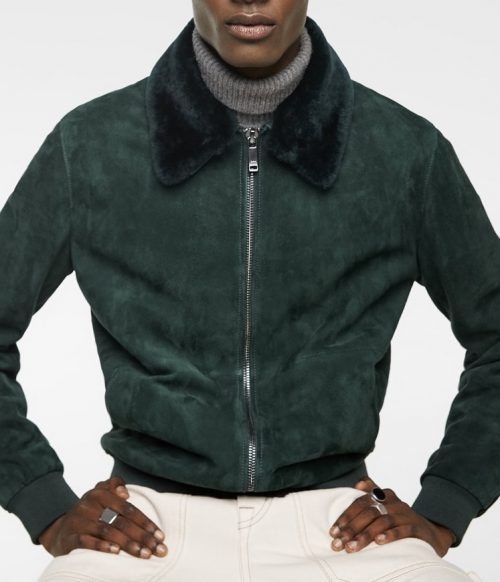Suede Men Leather Jacket With Fur Fashion Collection Free Shipping