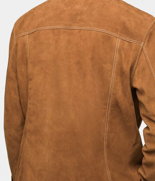 Mr-Styles Suede Western Men Leather Jacket Brown Fashion Jackets Free Shipping