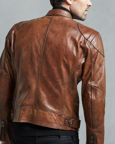 Supreme Burnt Cuero Hand Waxed Mens Brown Leather Jacket Fashion Collection Free Shipping