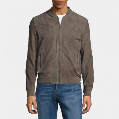 Selected Homer Suede Custom Leather Bomber Jacket Fashion Collection Free Shipping