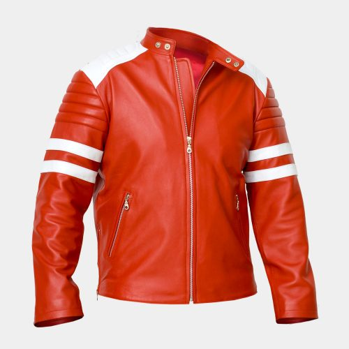 Sheepskin Super Hero Red Jacket Excellent Quality Fashion Collection Free Shipping
