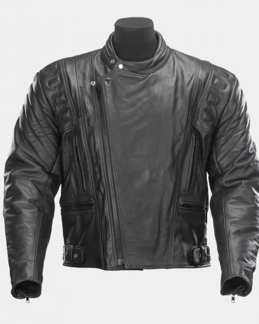 Black Zipped Leather Motorcycle Jacket MotoGP Leather Jackets Free Shipping