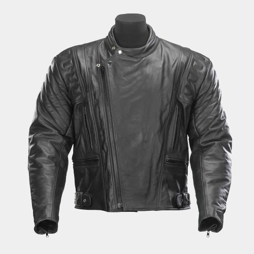 Black Zipped Leather Motorcycle Jacket Motorbike Collection Free Shipping