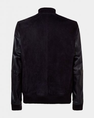 Boss Suede Black Leather Bomber Jacket Men Fashion Collection Free Shipping