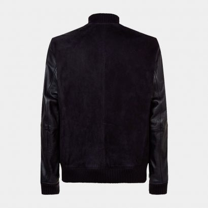 Boss Suede and Leather Bomber Jacket Fashion Collection Free Shipping