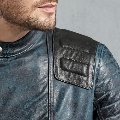 Fashion Trelow Jacket in Lagoon Men Leather Jackets Fashion Collection Free Shipping