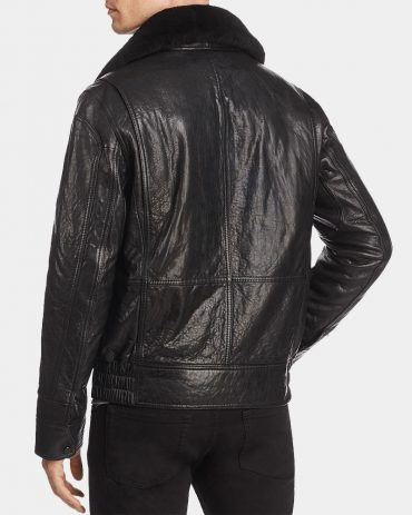 leather bomber jacket with wool collar Fashion Collection Free Shipping