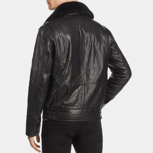 Genuine Leather Bomber Jacket With Wool Collar Fashion Collection Free Shipping