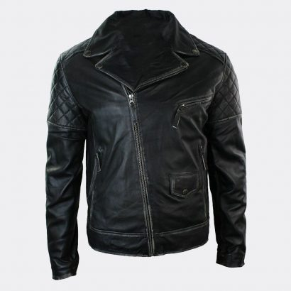 Slim Fit Biker Genuine Lambskin Leather Motorcycle Jacket Motorcycle Collection Free Shipping