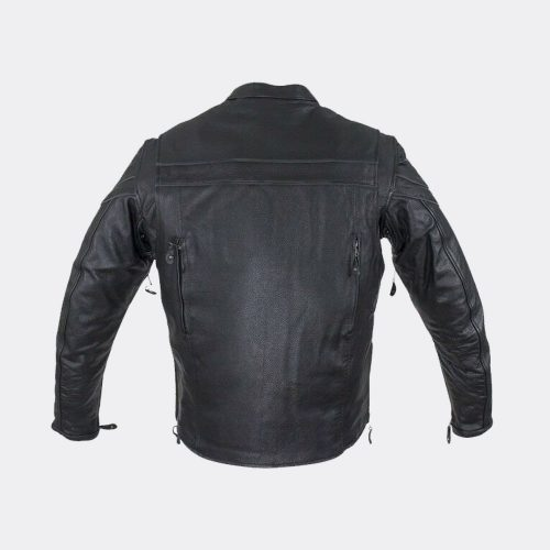 Mens Motorcycle Racer Black Leather Jacket with Concealed Carry Jacket Motorcycle Collection Free Shipping
