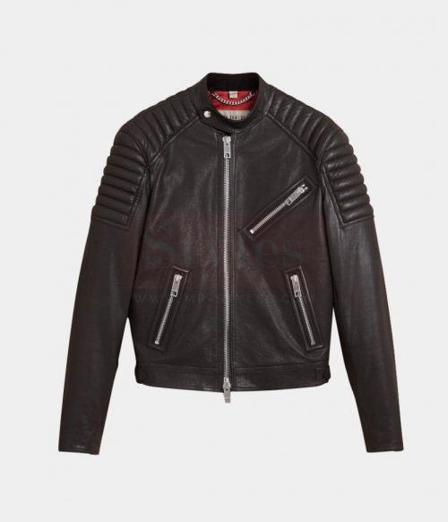 Burberry Panel Detail Lambskin Men's Leather Jackets Fashion Collection Free Shipping