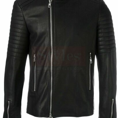 Diesel Men's Black leather jacket Fashion Collection Free Shipping