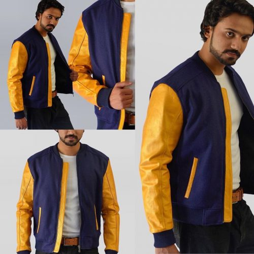Leather Sleeves Bomber Jacket Fashion Collection Free Shipping