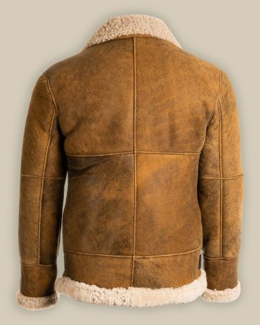 Men's Brown B3 Shearling Sheepskin Flying Aviator Leather Jacket Fashion Collection Free Shipping
