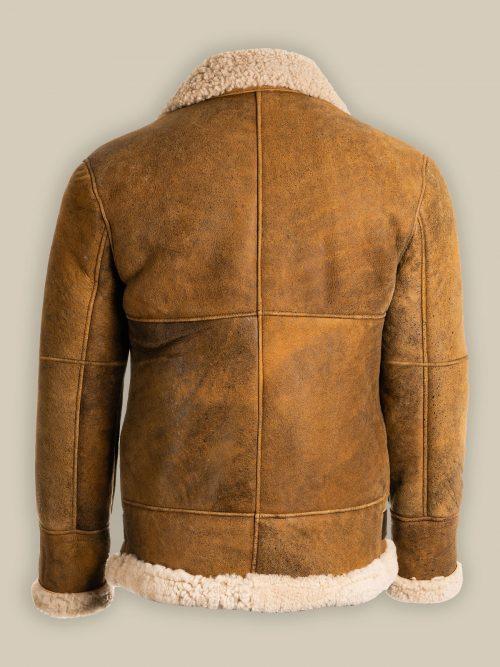 Men's Brown B3 Shearling Sheepskin Flying Aviator Leather Jacket Fashion Collection Free Shipping