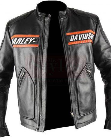 Bill Goldberg Black Harley Davidson Motorcycle Leather Jacket Motorcycle Collection Free Shipping