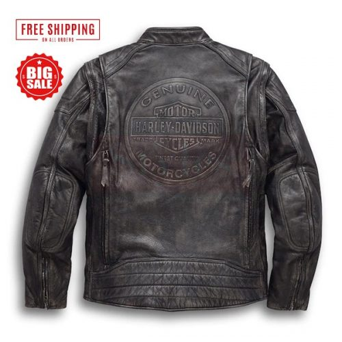Harley Davidson Men's Dauntless Convertible Motorcycle Leather Jacket Motorbike Jackets Free Shipping